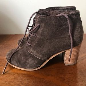 Toms brown suede lace up booties